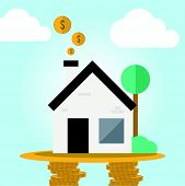 Real estate cashflow assets in flat design concept
