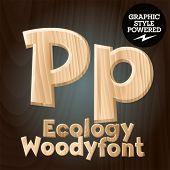 Vector font set of wood ecology font. Letter P