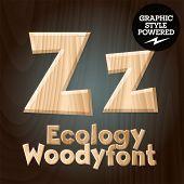 Vector font set of wood ecology font. Letter Z