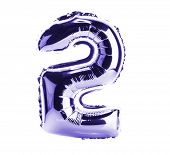 Purple Chrome balloon font part of full set of numbers, number two, 2