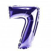 Purple Chrome balloon font part of full set of numbers, number seven, 7