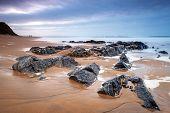 Rocky beach at Atlantic ocean in Ireland