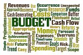 Budget word cloud on white background