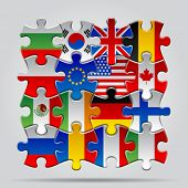 Set of puzzle with World flags. Vector Illustration