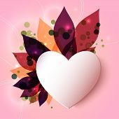 Magical glowing floral background with 3D paper heart