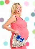 pregnant woman with heart and blue bow isolated