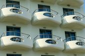 The Balconies Of The Hotel In Greece