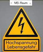 stock photo of voltage  - High voltage sign in Germany - JPG