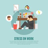 picture of angry man  - Stress on work flat icon with overworking employee  man cartoon character fearing angry boss abstract vector illustration - JPG