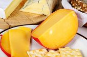 picture of brie cheese  - Cheese selection of Dutch Edam French Brie and French Bleu D - JPG