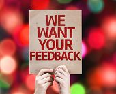 We Want Your Feedback card with colorful background with defocused lights