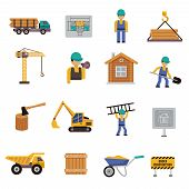 foto of engineering construction  - Construction icon flat set with engineer builder crane bulldozer isolated vector illustration - JPG
