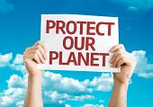 Protect Our Planet card with sky background