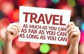 Travel As Much/Far/Long As You Can card with colorful background with defocused lights