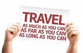 Travel As Much/Far/Long As You Can card isolated on white background