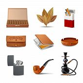 pic of ashes  - Tobacco decorative realistic icon set with cigars cigarette pack ash tray isolated vector illustration - JPG