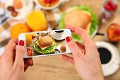 breakfast and mobile phone on wooden table