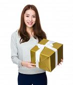 Woman hold with big gift box