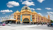 MELBOURNE, AUSTRALIA - JAN 15, 2015: Flinders street Station on Australia Day in Melbourne on Jan 15, 2015. Australia.Flinders street Station is the biggest station in Melbourne.