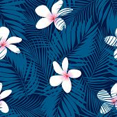 Tropical Plumeria Floral Seamless Pattern
