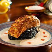 image of crisps  - Crisp Salmon Steak with Black Risotto and Cream Sauce - JPG