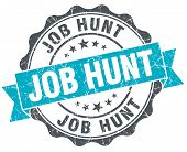 Job Hunt Vintage Turquoise Seal Isolated On White