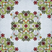 Background With Floral Symmetrical Elements.
