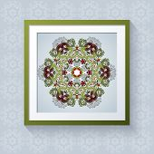 3D Picture Frame With Floral Round Patternt