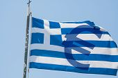 foto of greek  - streaming greek banner with a blue Euro sign - JPG
