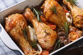 Chicken Legs With Mushrooms In A Baking Dish Horizontal Top View