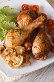 Baked Chicken Drumsticks With Mushrooms Vertical Top View