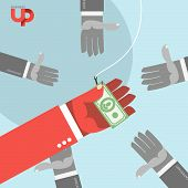 foto of money  - first among competitors. Money on a hook. Fish and
