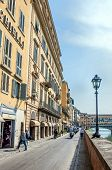 street viwe and Ponte Vecchio bridge in Florence, Tuscany