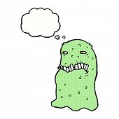 stock photo of gross  - cartoon gross ghost with thought bubble - JPG