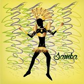image of brazilian carnival  - a colored background with a woman in bikini text and ornaments for carnival - JPG