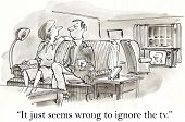 image of ignorant  - Cartoon of couple at home in the evening - JPG