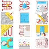Color icons vector collection for underfloor heating