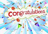 Illustration congratulations wording and celebration