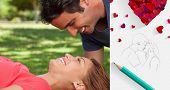 Man smiling as he looks down into his friends eyes against sketch of kissing couple with pencil
