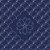 Traditional Japanese Embroidery Ornament with arcs and sakura flower. Sashiko. Vector seamless patte