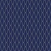 Traditional Japanese Embroidery Ornament. Wavy Sashiko. Vector seamless pattern.