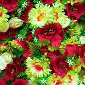 fake roses and chrysanthemums