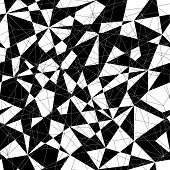 Abstract monochrome mosaic pattern with triangles. Seamless vector.