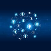 Network Communications Abstract Blue Background