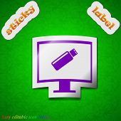 Usb Flash Drive And Monitor Icon Sign. Symbol Chic Colored Sticky Label On Green Background. Vector