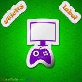 Joystick And Monitor Icon Sign. Symbol Chic Colored Sticky Label On Green Background. Vector