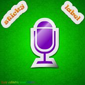 Microphone  Icon Sign. Symbol Chic Colored Sticky Label On Green Background. Vector