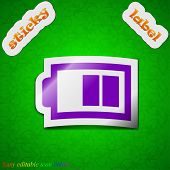 Battery Half Level Icon Sign. Symbol Chic Colored Sticky Label On Green Background. Vector