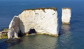 picture of cliffs  - Chalk cliffs Old Harry Rocks Isle of Purbeck in Dorset south England UK the most easterly point of the Jurassic Coast like the Needles isle of Wight - JPG