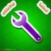 Wrench Key Icon Sign. Symbol Chic Colored Sticky Label On Green Background. Vector